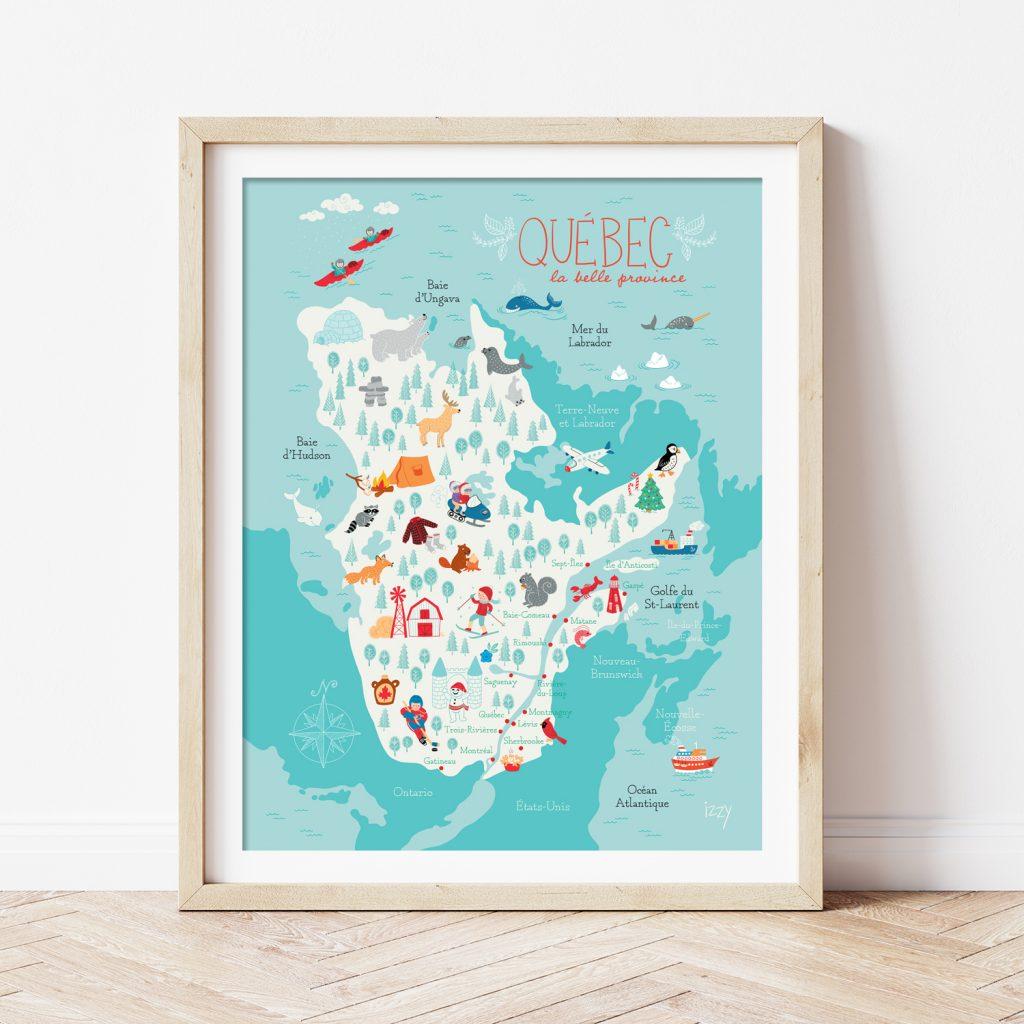 Illustration pour enfants d'une carte du Québec par Isabelle Charbonneau