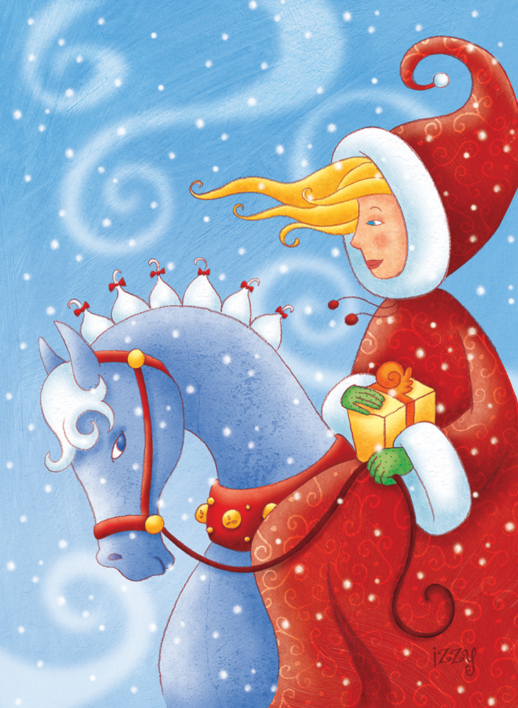 Femme à cheval, cartes de Noël illustrées par Isabelle Charbonneau illustration