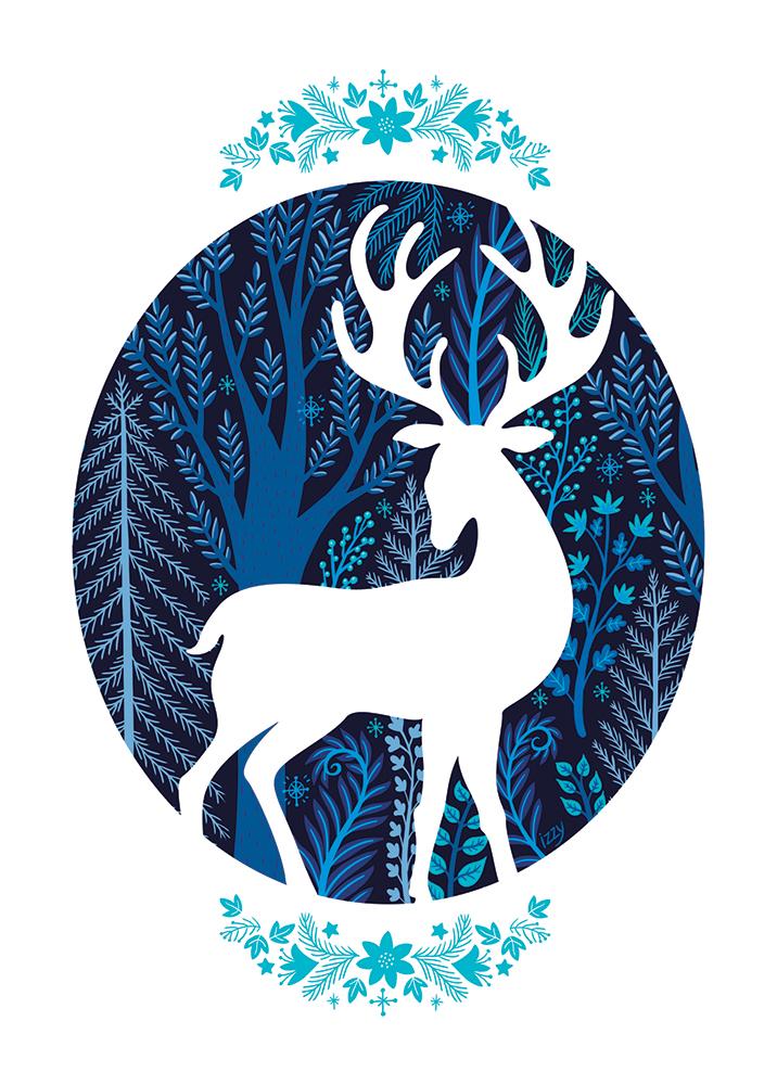 Chevreuil bleu, Illustration par Isabelle Charbonneau pour une carte de Noël