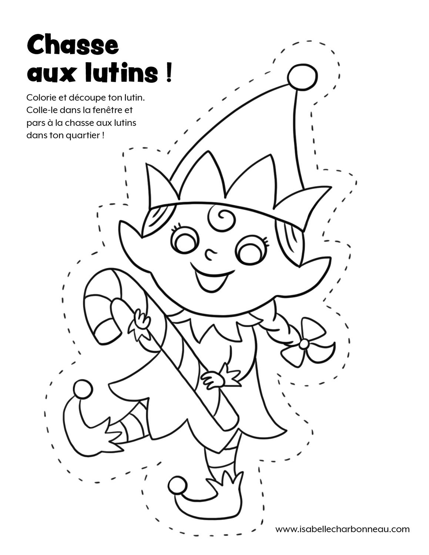 Illustration d'un coloriage de lutine de Noël par Isabelle Charbonneau