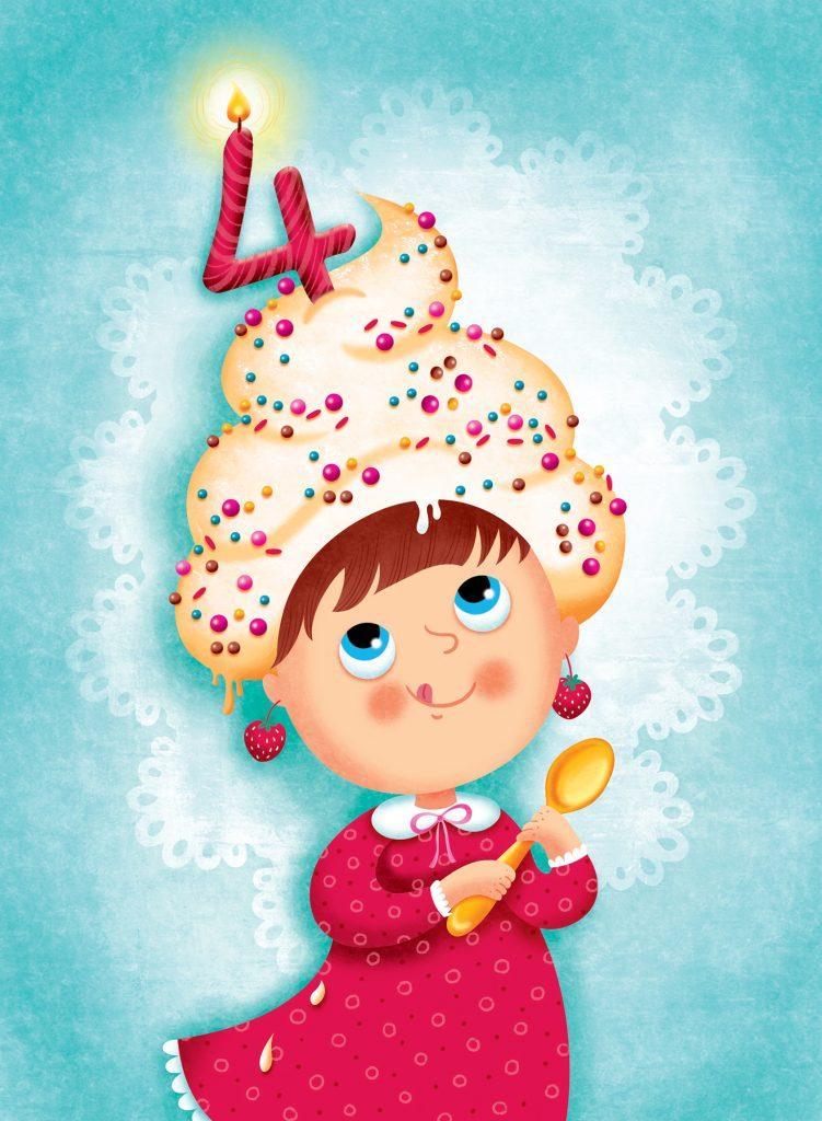 Illustration par Isabelle Charbonneau pour des cartes de souhaits d'anniversaire pour fille