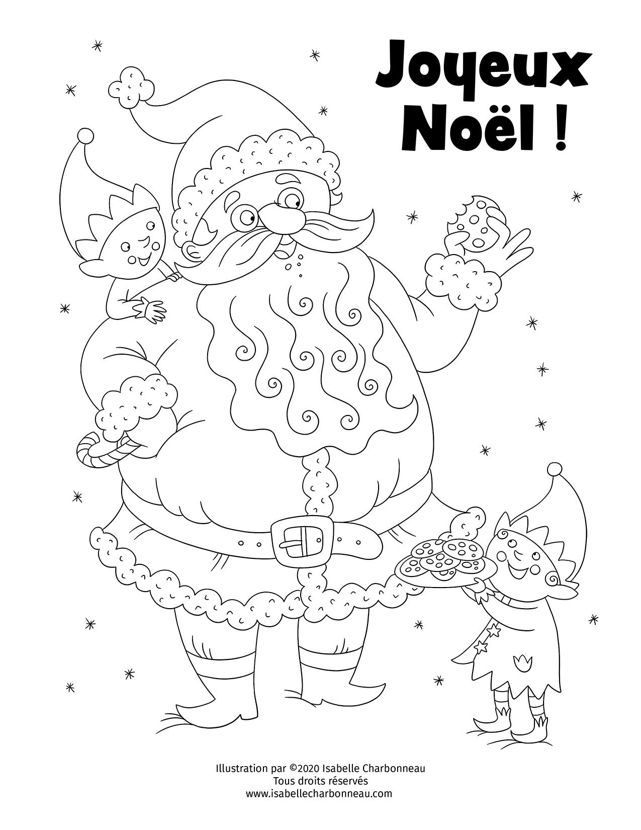 Coloriage du père Noël et ses lutins illustré par Isabelle Charbonneau