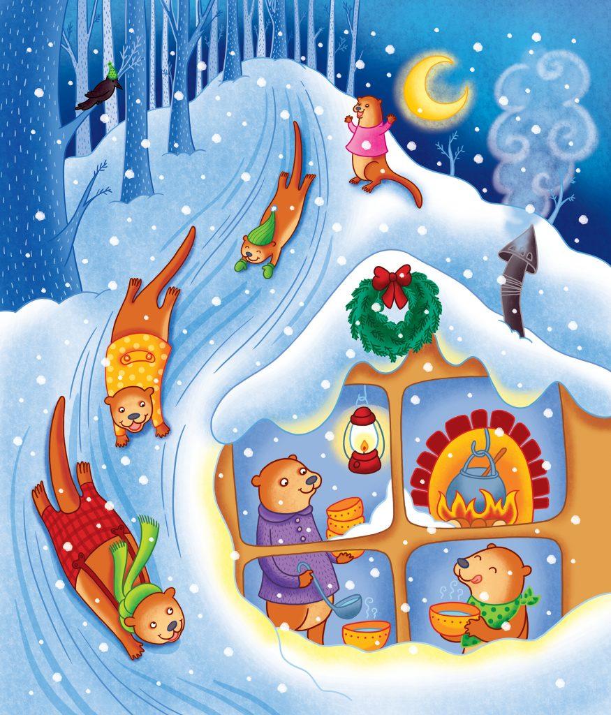 Illustration d'Isabelle Charbonneau pour l'album jeunesse «Le Noël des animaux» paru aux éditions Caractère, L'île des loutres