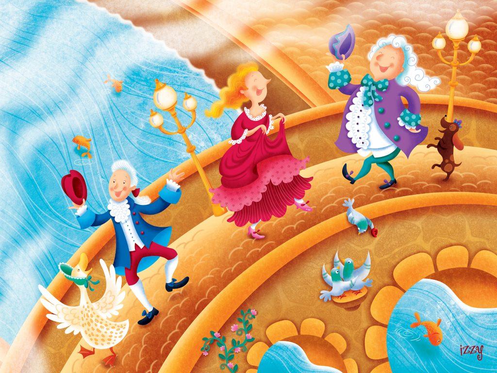 Chante avec moi en 100 chansons, collection de livres de comptines populaires pour enfants parus chez Pomango et illustrés par Isabelle Charbonneau illustrations. Nursery Rhymes London Bridge.